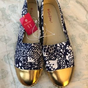 NWT Lilly Pulitzer for Target navy/white/gold flat